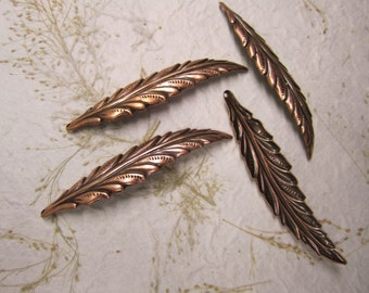 Antique Copper, Long Narrow Leaf, Dimensional Curved Leaf Charms/Earrings/Pendant/Craft x 4