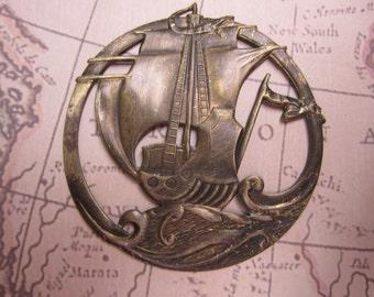 Ship At Sea, Open Work Medallion, Antique Brass Charm x 1