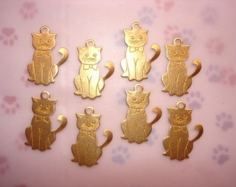 Kitty Cat Curly Tail Brass Jewelry Charms on Etsy x 8