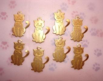 Kitty Cat, Curly Tail, Brass Feline Jewelry Charms x 8