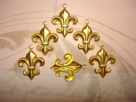 Fleur de Lis Brass Jewelry Charms Pendant/Earrings/Craft on Etsy Usa Made x 6
