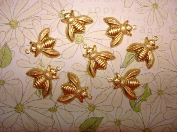 Honey Bee Brass Charms on Etsy x 8