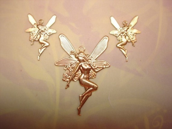 Faries Set/3 Matching Brass Fairy CharmsJewelry Pendant/Earrings on Etsy