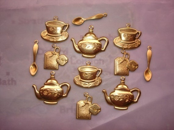 Tea Set of 12 Brass Jewelry Charms/3 Cups/3 Teapots/3Tea Bags/3 Teaspoons on Etsy