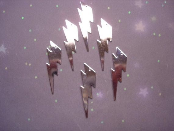 6 XL Silver Plate Stormy Day Lightning Bolt Jewelry Charms on Etsy