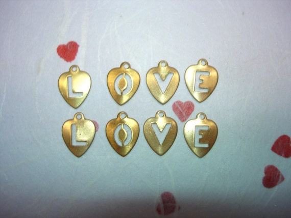 8  Hearts Spell LOVE Brass Charms on Etsy