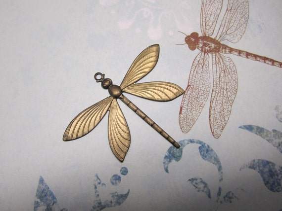XL Dragonfly Antique Bronze Jewelry Charm/ Pendant/Craft/Collage/Mixed Media Art/Jewel Wrap on Etsy x1