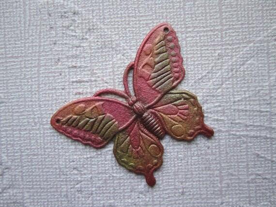 Monarch Butterfly Jewelry Charm Iridized Flamingo/Peridot/Yellow Pendant/Craft on Etsy 1246