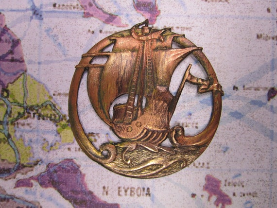 NEW FINISH--Rustic Primative Ship At Sea Open Work Medallion Charm on Etsy 1635