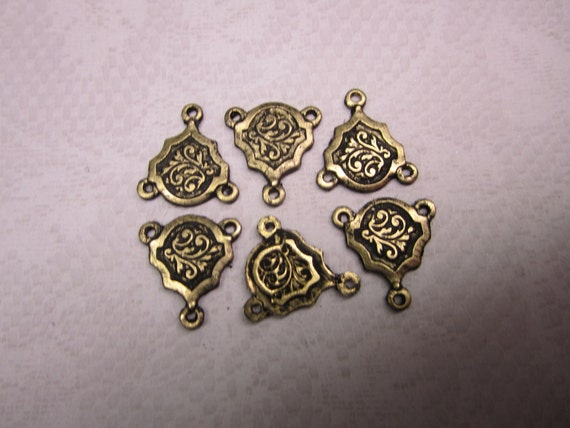 NEW-Art Nouveau Y Connector Weathered Brass Links with 3 Rings on Etsy x6