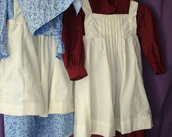 Girls' Prairie dress, pinafore, and bonnet size 6 - 10