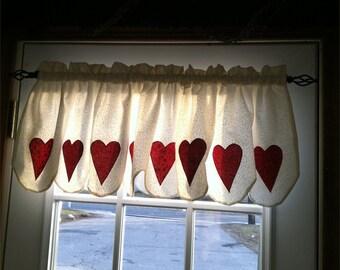 Floral folk hearts valance extra wide
