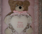 BABY Personalized Teddy Bear Photo Album / Scrapbook with Lace