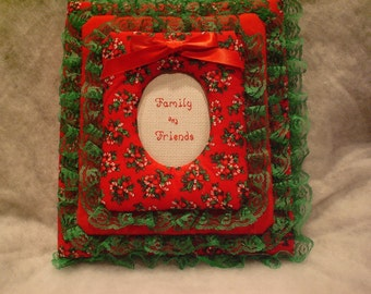 CHRISTMAS Candy Cane / Holly - Personalized Fabric Photo Album / Scrapbook