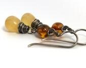 Golden Chalcedony Earrings . Amber Dangle Earrings . Sterling Silver