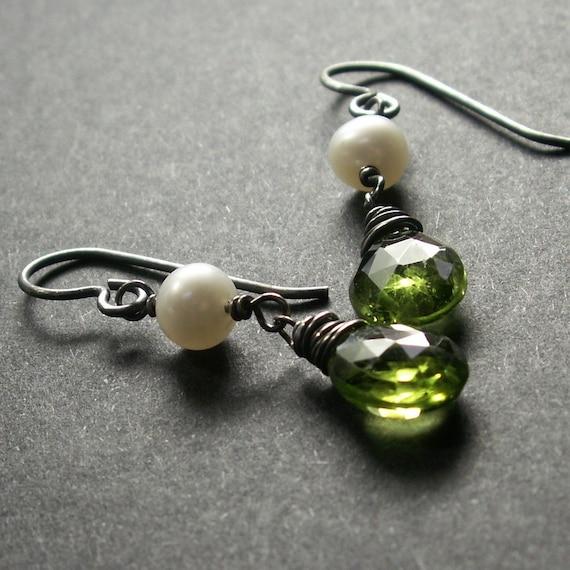 Peridot Earrings . White Pearl Earrings . August Birthstone Earrings . Sterling Silver