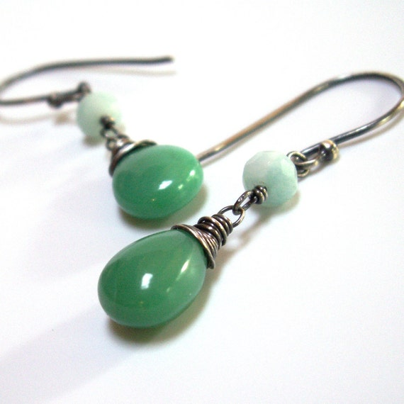 Chrysoprase Earrings with Amazonite . Sterling Silver
