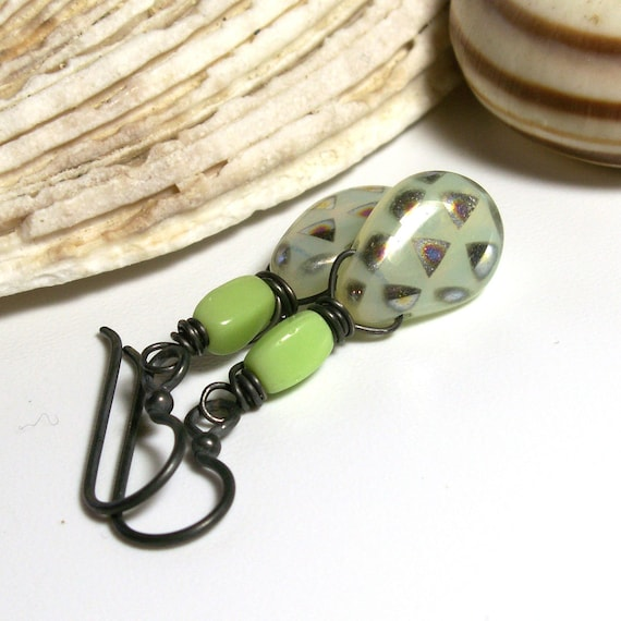 Yellow Briolette Earrings with Lime Green Vintage Glass Beads