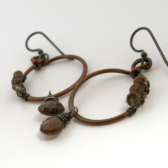 Andalusite Earrings . Copper Circles . Sterling Silver