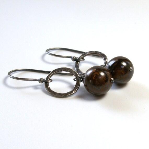 Boulder Opal Earrings . Textured Circles . October Birthstone Earrings . Sterling Silver