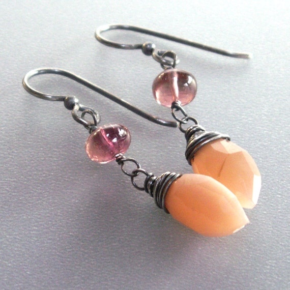 Peach Moonstone Earrings . Pink Tourmaline Dangle Sterling Silver Earrings