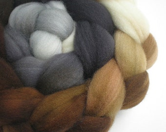 hand dyed superwash wool top spinning fiber gradient progression LITHOS 4 oz.