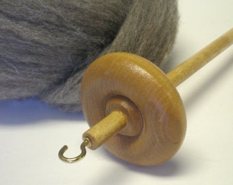 basic beginner top whorl wooden drop spindle with 2 oz. wool