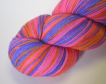 hand dyed sock yarn superwash merino nylon fingering WILD THANG 460 yds.