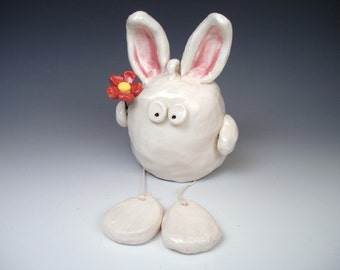 SALE -- Bunny with Red Flower (Decorative Hanging)