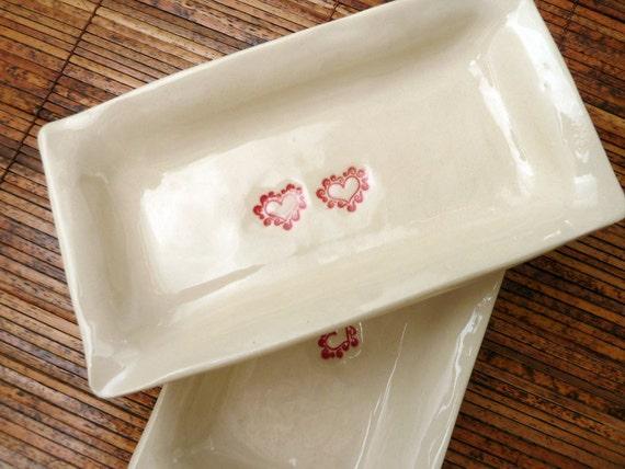SALE ITEM  - Sushi Dish Set with Valentine Hearts (KISS - Linen White)