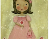 8x10 Original Art Painting Sweet Little Girl