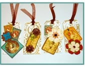 Flowers Steampunk Tag Set of 4