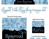 Etsy Banner, Avatars and Placeholder Set - Elegant Toile, Blue, Vintage, Fabric