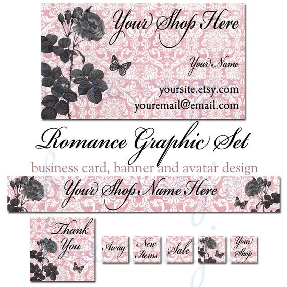 Etsy Banner, Business Card and Avatar Set - Romance, Rose, Damask, Butterfly, Pink
