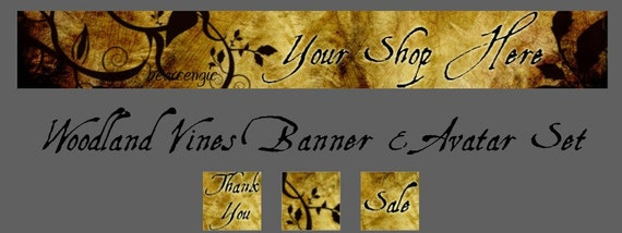 Woodland Vines Etsy Shop Banner with Matching Avatar Set