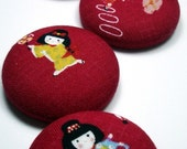 Buttons - Japanese Kimono Girls  - Extra Large - set of 5