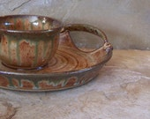 Rust and Copper Patina Green Stoneware Ceramic Pottery Hors doeuvre Set
