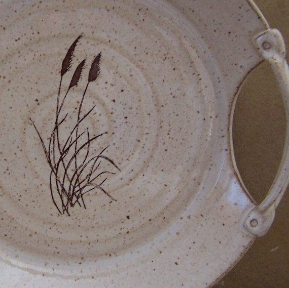 SALE - Pampas Grass on White Handmade Stoneware Ceramic Pottery Serving Tray