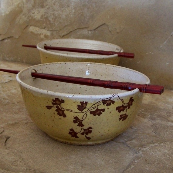 Ginkgo on Yellow Stoneware Ceramic Pottery Noodle Bowls