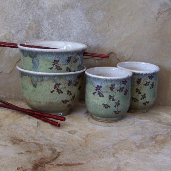 Desert Moss Green Stoneware Ceramic Pottery Noodle Bowls and Tea Bowls
