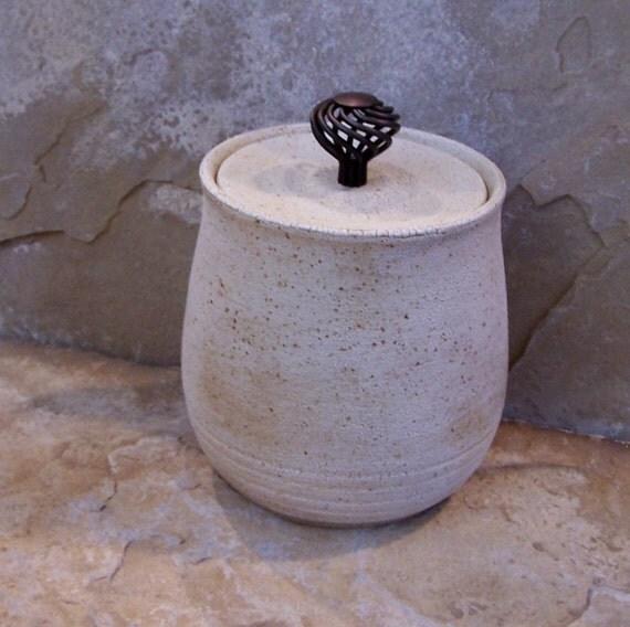 Textured White Handmade Stoneware Ceramic Pottery Canister