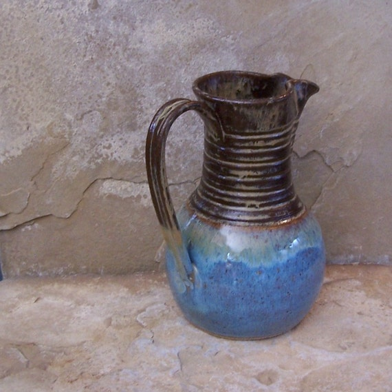 Burnt Iron and Icy Blue Stoneware Ceramic Pottery Pitcher