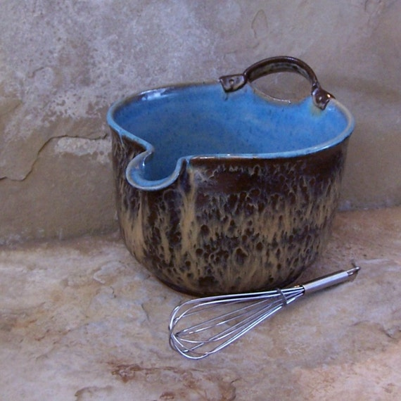 Burnt Iron Brown and Icy Blue Handmade Stoneware Ceramic Pottery Batter Bowl