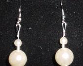 Double Pearl Dangle Pierced Earrings Silver