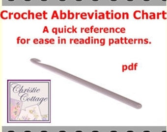Crochet Stitch Abbreviations Chart For ease in using Advanced crochet patterns pdf