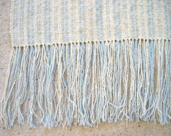 Handspun handwoven wool blanket blue and white