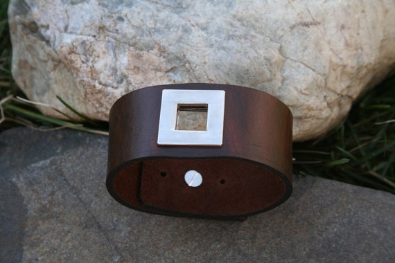 Be Squared - brown leather and stainless steel unisex cuff