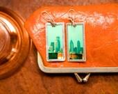 Photo Earrings - Philadelphia Skyline - lightweight - sterling silver eariwires