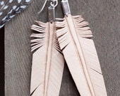 leather feather earrings - hand carved - natural tan