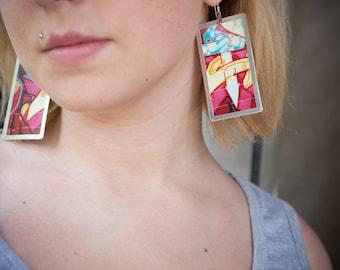 big graffiti photo earrings
